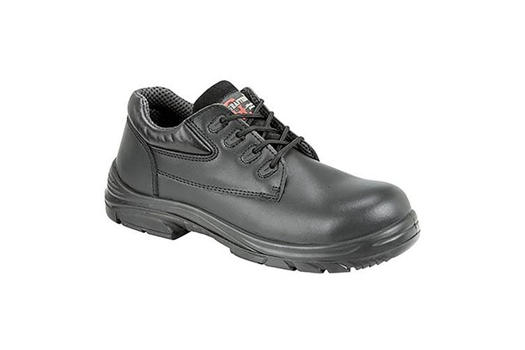 Grafter Mens Wide Fitting Lace Up Safety Shoes (Black) (45 EU)
