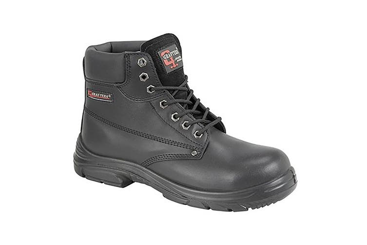 Grafter Mens Wide Fitting Lace Up Safety Boots (Black) (44 EU)