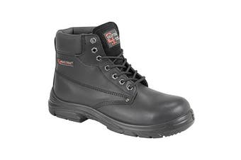 Grafter Mens Wide Fitting Lace Up Safety Boots (Black) (47 EU)