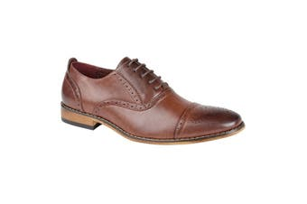 Goor Mens Capped Lace Oxford Brogue Shoes (Mid Brown) (9 UK)