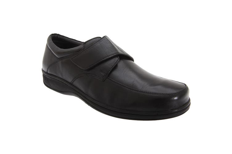 Roamers Mens Fuller Fitting Superlight Touch Fastening Leather Shoes (Black) (7 UK)
