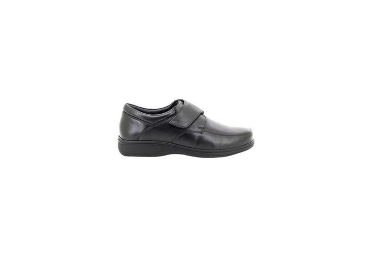 Roamers Mens Fuller Fitting Superlight Touch Fastening Leather Shoes (Black) (8 UK)