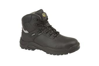 Grafters Mens Transporter Padded Ankle Mid Safety Boots (Black/Grey) (12 UK)