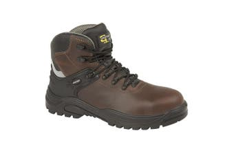 Grafters Mens Transporter Padded Ankle Mid Safety Boots (Dark Brown) (4 UK)