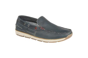 Roamers Superlight Mens Leather Slip On Apron Tab Moccasin Leisure Shoes (Navy Leather) (11 UK)