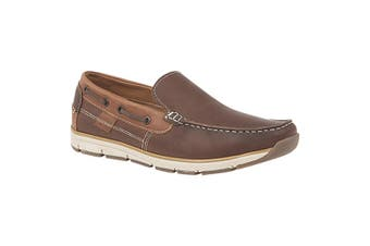 Roamers Superlight Mens Leather Slip On Apron Tab Moccasin Leisure Shoes (Brown) (9 UK)