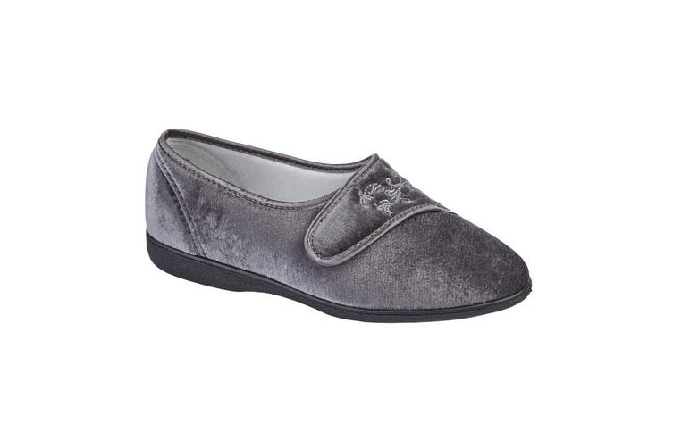 Sleepers Womens/Ladies Maud Wide Fitting Slippers (Charcoal Grey) (6 UK)