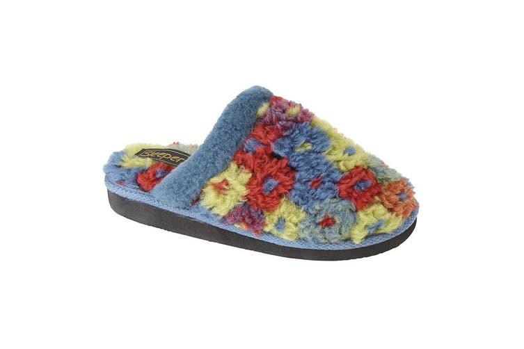 Sleepers Womens/Ladies Karlie Floral Thermal Lined Mule Slippers (Azul Blue) (5 UK)