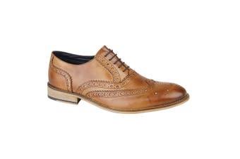 Roamers Mens Leather Brogue Oxford Shoes (Tan) (9 UK)