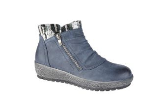 Cipriata Womens/Ladies Gina Knitted Collar Ankle Boot (Navy) (3 UK)