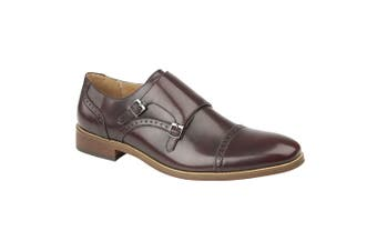 Goor Mens Twin Buckle Monk Shoes (Oxblood) (9 UK)