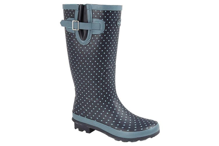 Stormwells Womens/Ladies Polka Dot Wellington Boots (Pale Blue Polka Dot/Navy) (5 UK)