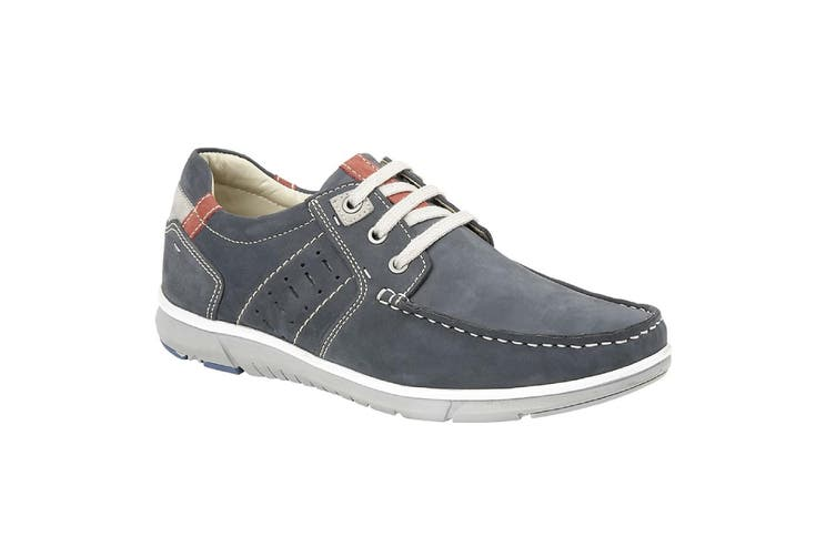 Roamers Mens Leather 3 Eyelet Leisure Tie Shoes (Navy) (7 UK)