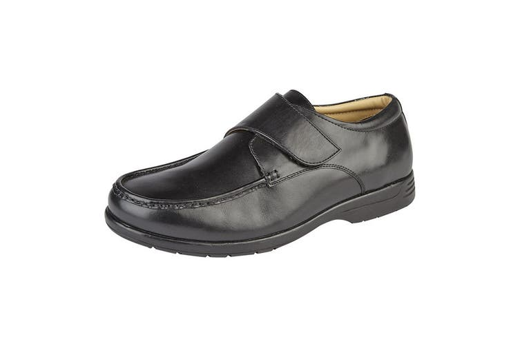 Roamers Mens Leather XXX Extra Wide Touch Fastening Casual Shoe (Black) (14 UK)