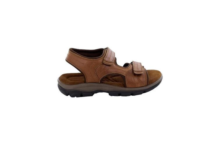 Roamers Mens Leather Twin Touch Fastening Sandal (Tan) (10 UK)