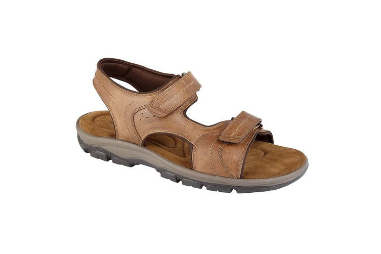 Roamers Mens Leather Twin Touch Fastening Sandal (Tan) (7 UK)