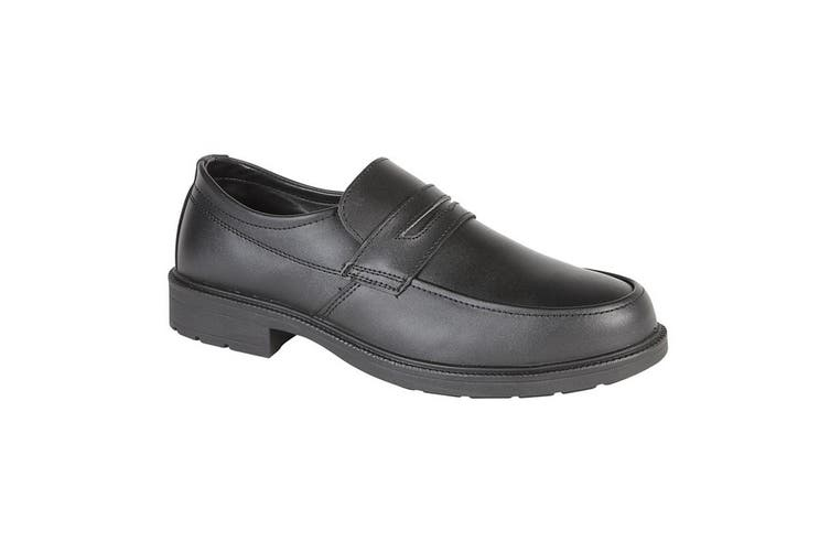 Grafters Mens Uniform/Managers Step In Safety Leather Shoe (Black) (47)