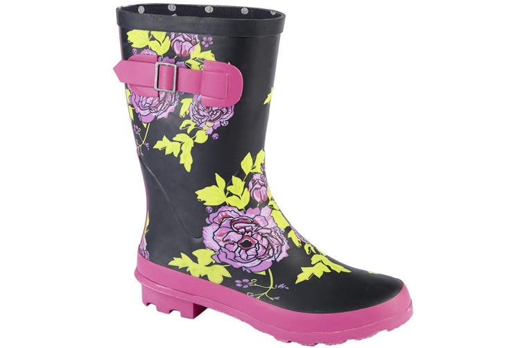 Woodland Womens/Ladies Mid Calf Wellington Boot (Black Multi) (7 UK)