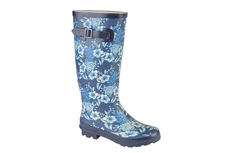 Woodland Womens/Ladies High Leg Wellington Boot (Navy/Blue) (7 UK)
