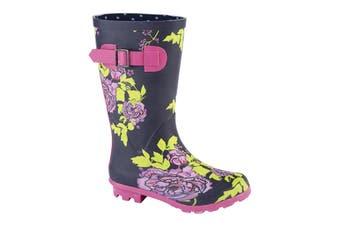 Woodland Girls High Leg Wellington Boot (Navy/Multicoloured) (10 Child UK)