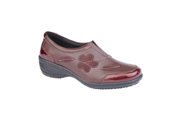 Mod Comfys Womens/Ladies Floral Suede Slip-On Shoe (Burgundy Leather) (9 UK)