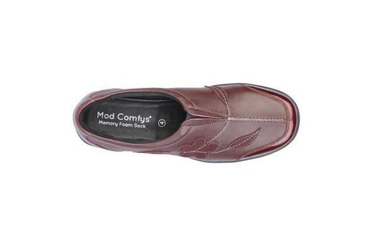 Mod Comfys Womens/Ladies Floral Suede Slip-On Shoe (Burgundy Leather) (6 UK)
