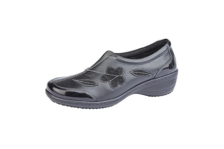 Mod Comfys Womens/Ladies Floral Suede Slip-On Shoe (Black Leather) (4 UK)