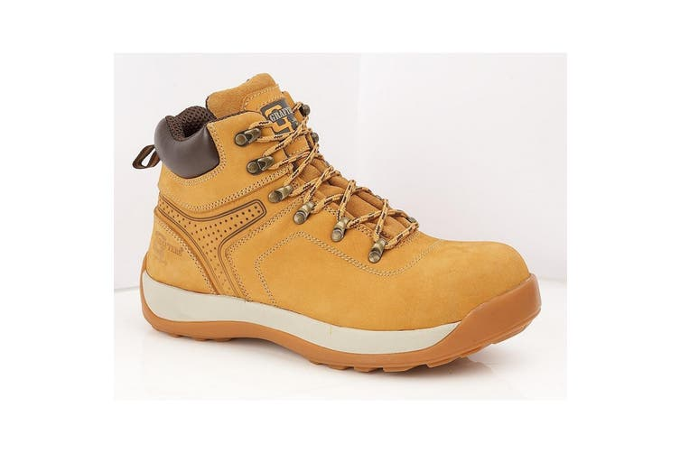 Grafters Mens Leather/Nubuck Safety Ankle Boot (Honey Nubuck) (9 UK)