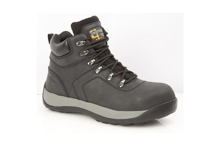 Grafters Mens Leather/Nubuck Safety Ankle Boot (Black Oily Leather) (11 UK)