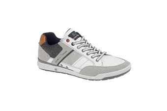 Route 21 Mens 7 Eyelet shoes (White/Grey/Blue) (8 UK)