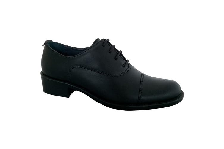 Grafters Womens/Ladies Capped Oxford 4 Eye Uniform Shoes (Black) (6 UK)