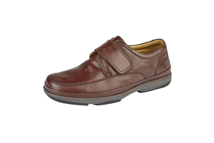 Roamers Mens Leather Wide Fit Touch Fastening Casual Shoes (Brown) (8 UK)