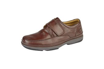 Roamers Mens Leather Wide Fit Touch Fastening Casual Shoes (Brown) (6 UK)