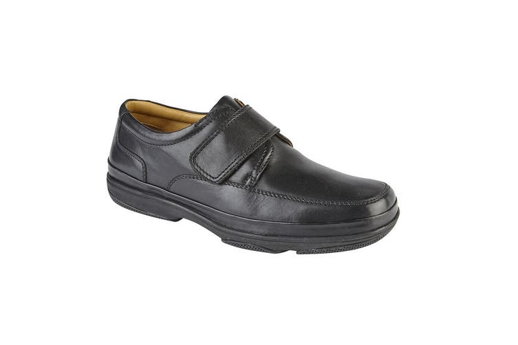 Roamers Mens Leather Wide Fit Touch Fastening Casual Shoes (Black) (8 UK)
