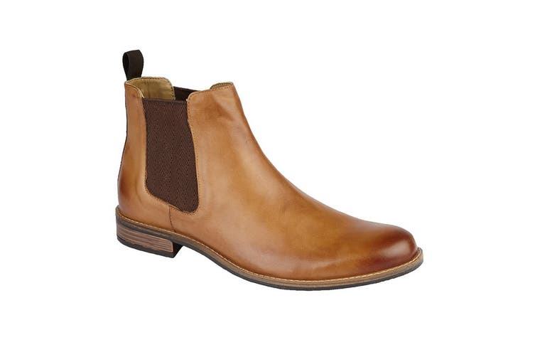 Roamers Mens Leather Gusset Boots (Tan) (10 UK)
