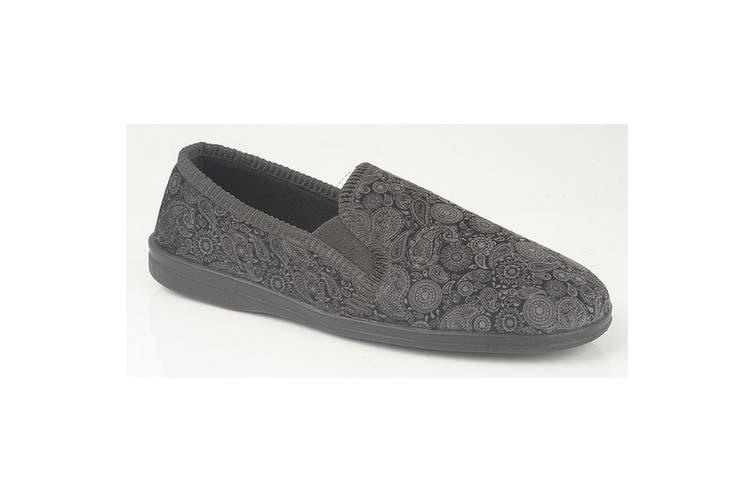 Sleepers Mens Monty Gusset Slippers (Grey/Black) (12 UK)
