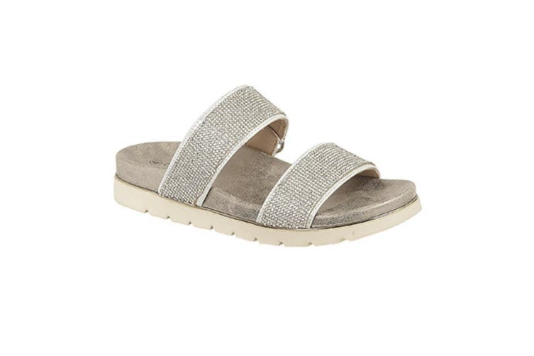 Cipriata Womens/Ladies Aletta Diamante Twin Strap Mule Sandals (Silver) (8 UK)