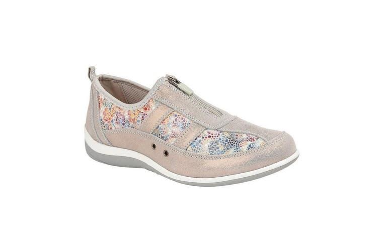 Boulevard Womens/Ladies Floral Print Suede Shoes (Grey) (3 UK)