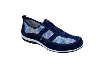 Boulevard Womens/Ladies Floral Print Suede Shoes (Navy) (5 UK)