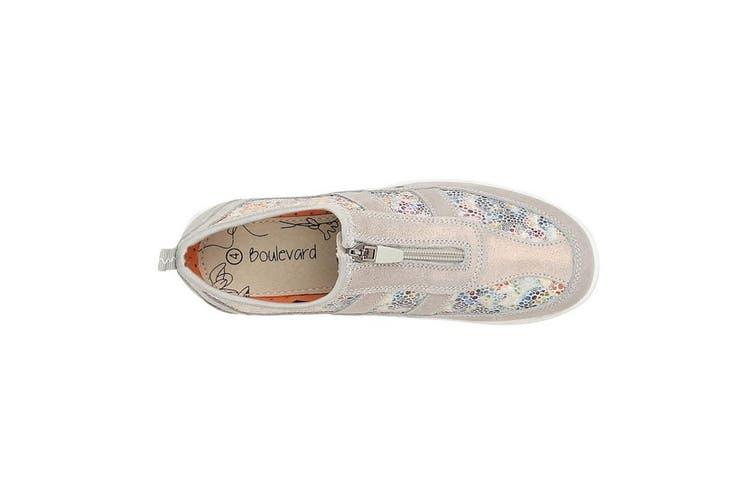 Boulevard Womens/Ladies Floral Print Suede Shoes (Grey) (4 UK)