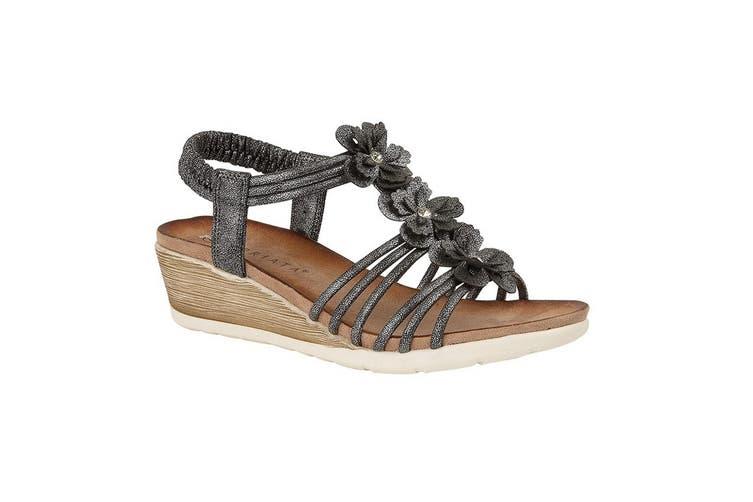 Cipriata Womens/Ladies Gerina 3 Flower Halterback Wedge Sandals (Pewter) (7 UK)