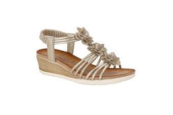 Cipriata Womens/Ladies Gerina 3 Flower Halterback Wedge Sandals (Gold) (5 UK)