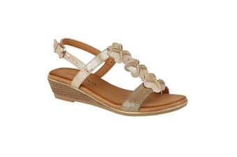 Cipriata Womens/Ladies Flower Halterback Wedge Sandals (Light Gold) (4 UK)