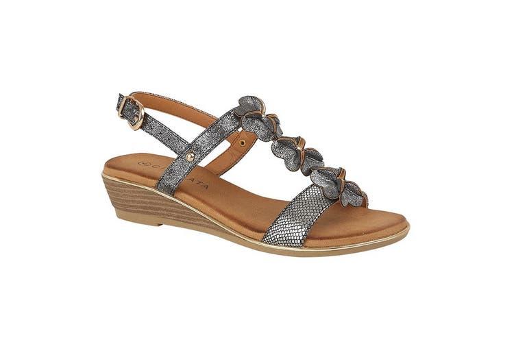 Cipriata Womens/Ladies Flower Halterback Wedge Sandals (Pewter) (5 UK)