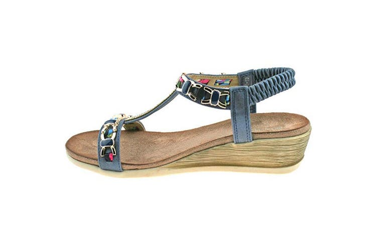 Cipriata Womens/Ladies Brizia Jeweled Elasticated Halter Back Wedge Sandal (Blue) (5 UK)