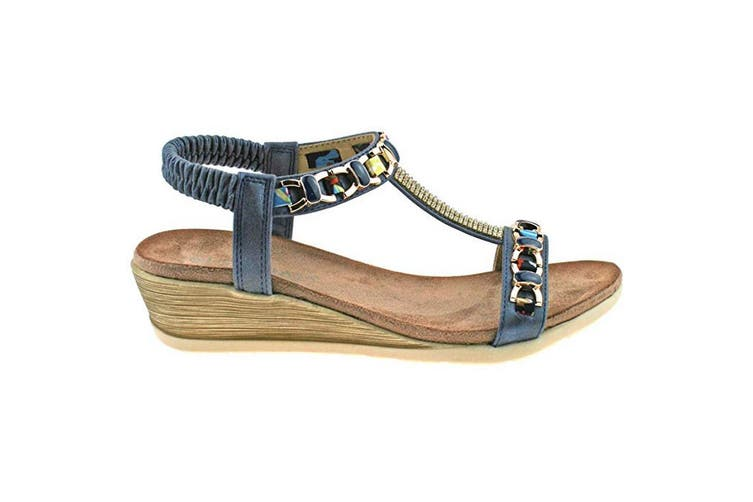 Cipriata Womens/Ladies Brizia Jeweled Elasticated Halter Back Wedge Sandal (Blue) (4 UK)