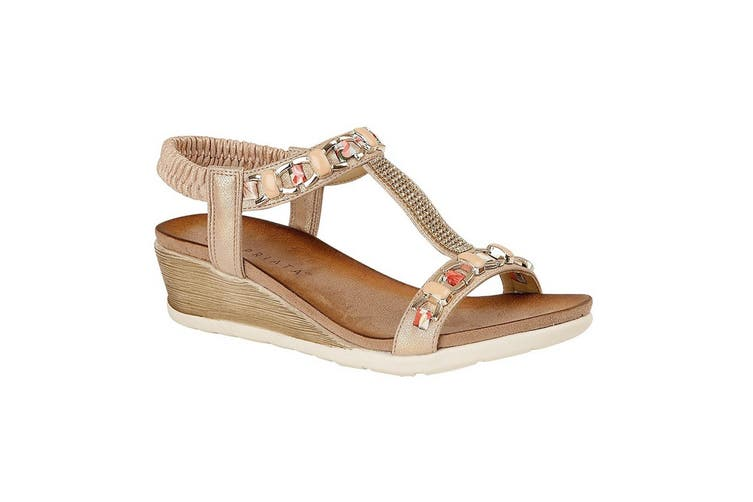 Cipriata Womens/Ladies Brizia Jeweled Elasticated Halter Back Wedge Sandal (Rose Gold) (8 UK)