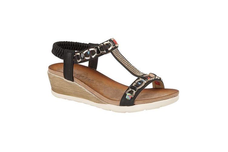 Cipriata Womens/Ladies Brizia Jeweled Elasticated Halter Back Wedge Sandal (Black) (7 UK)