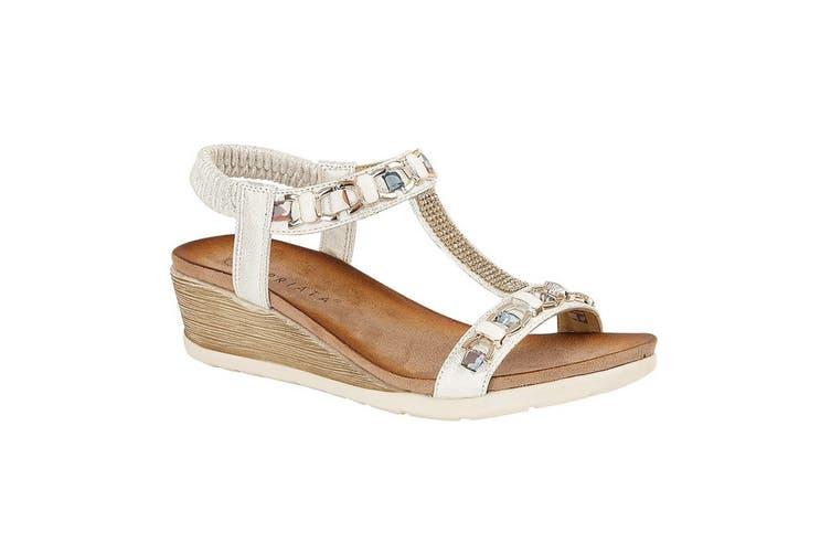 Cipriata Womens/Ladies Brizia Jeweled Elasticated Halter Back Wedge Sandal (Silver) (6 UK)