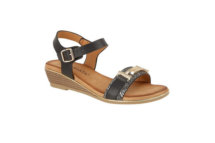Cipriata Womens/Ladies Italina Brooch Trimmed Vamp Sandal (Black) (6 UK)